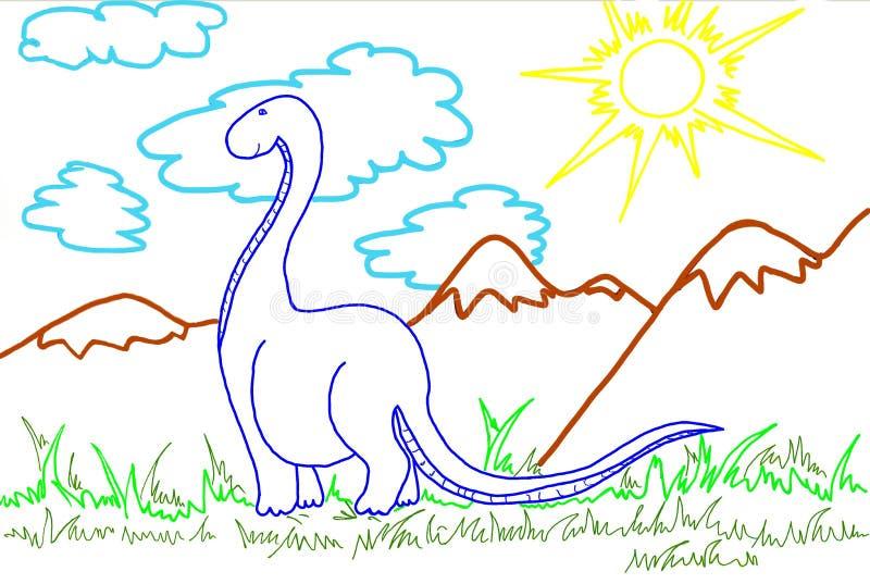 Handmade koloru rysunek dinosaur royalty ilustracja