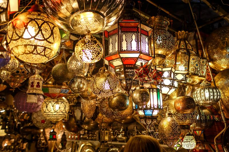 Handmade lamps in Morocco. stock photo
