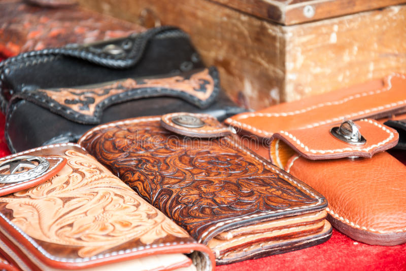 Handmade leather bags royalty free stock images