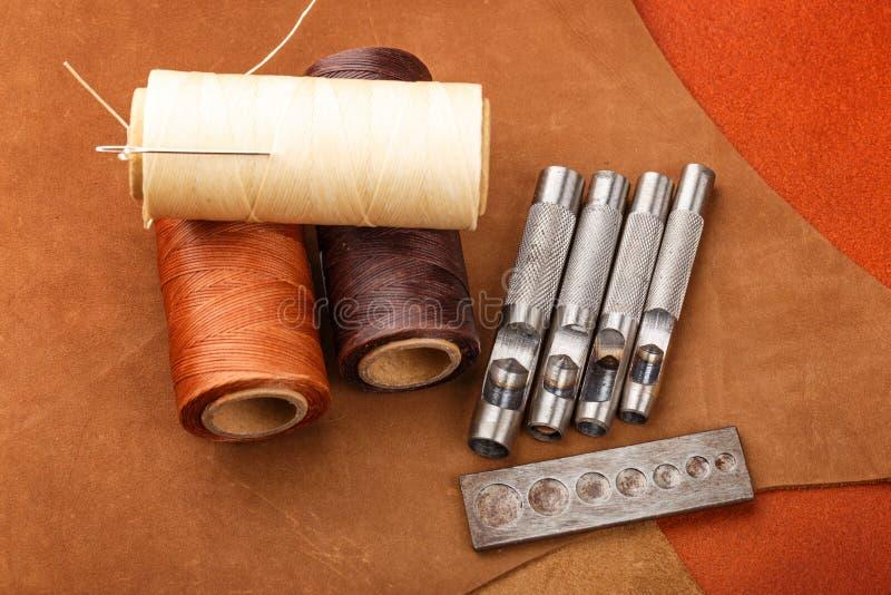 Handmade leather craft equipment stock photo
