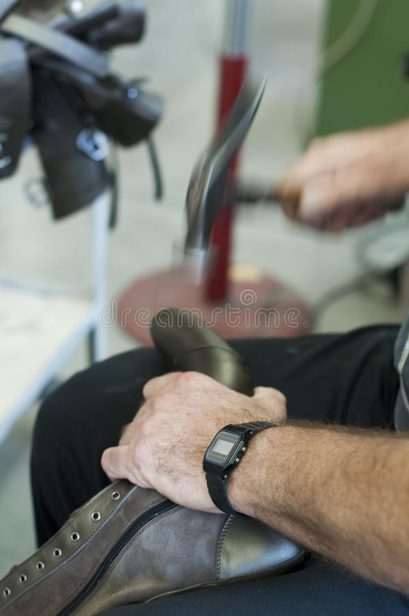 Handmade manufacture of footwear stock photo