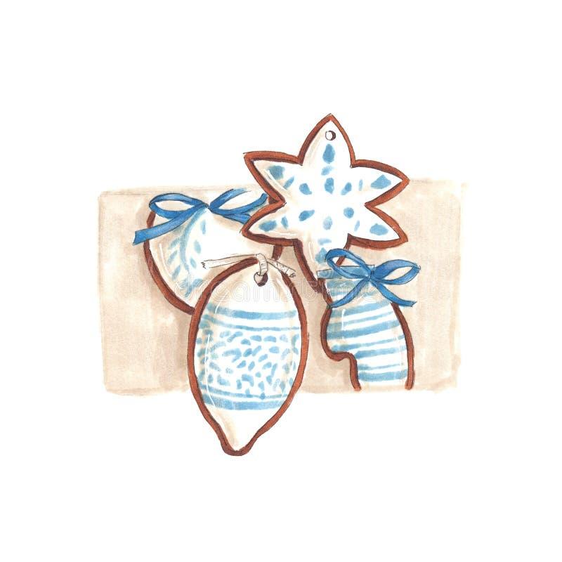 Handmade markier rysująca ilustracja biały i błękitny miodownik ilustracja wektor