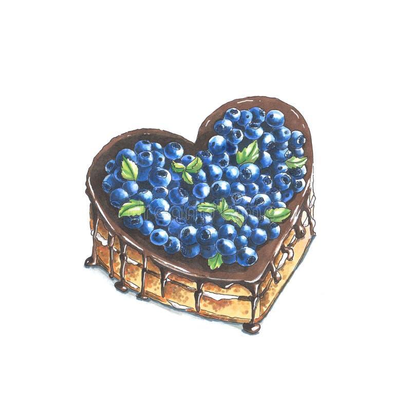 Handmade markier rysująca ilustracja czarna jagoda kulebiak royalty ilustracja