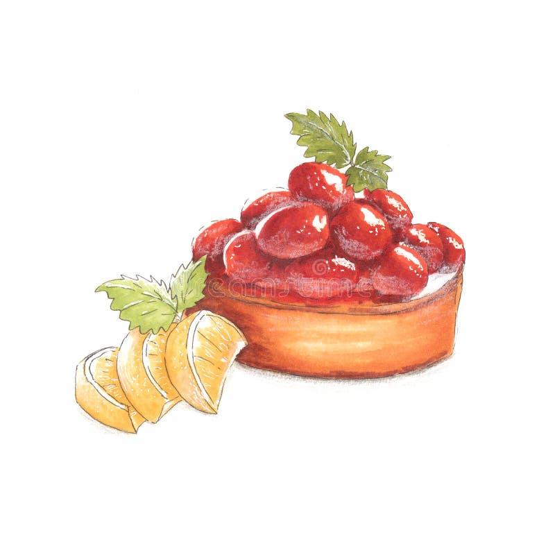 Handmade markier rysująca ilustracja deser z jagodami i cytryna plasterkami royalty ilustracja