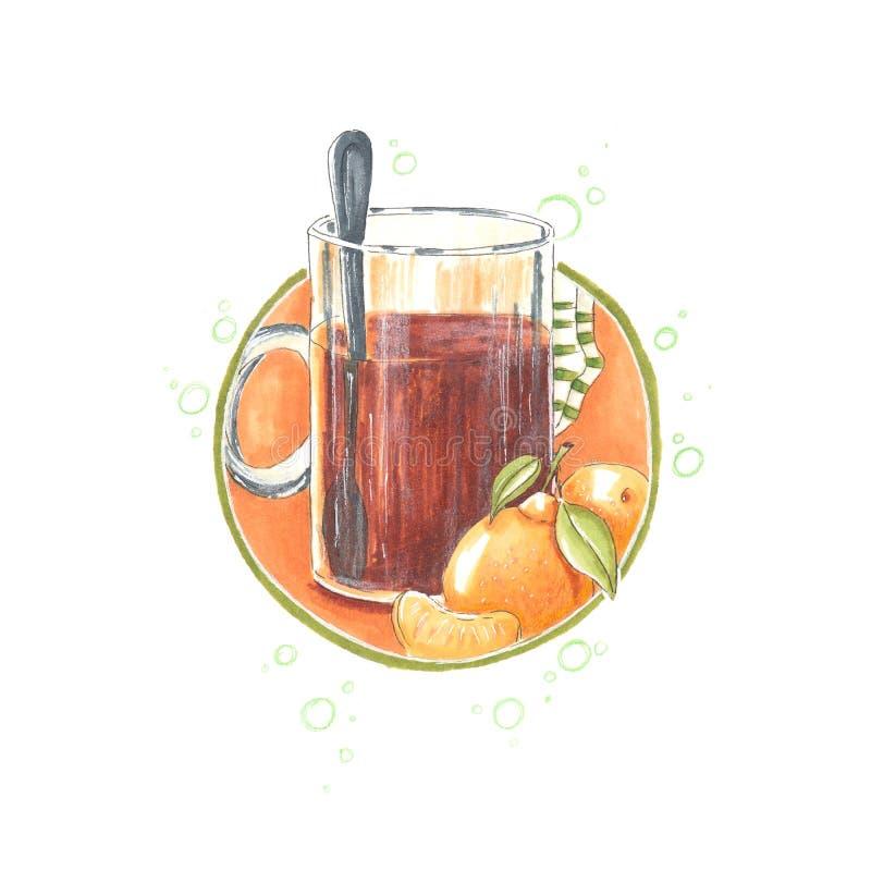 Handmade markier rysująca ilustracja herbata z mandarynką i skarpetami royalty ilustracja