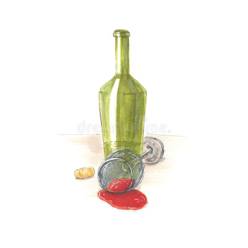 Handmade markier rysująca ilustracja wino ilustracji