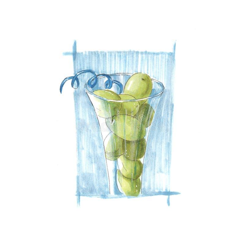 Handmade markier rysująca ilustracja winogrona w szkle royalty ilustracja
