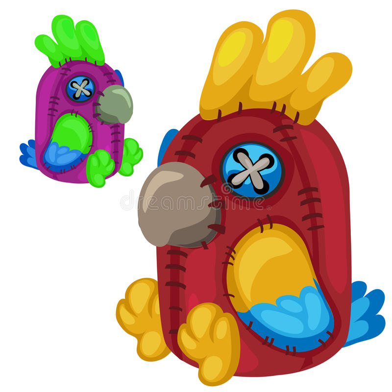 Handmade miękkiej części zabawki czerwieni papuga Wektorowy ptak ilustracji