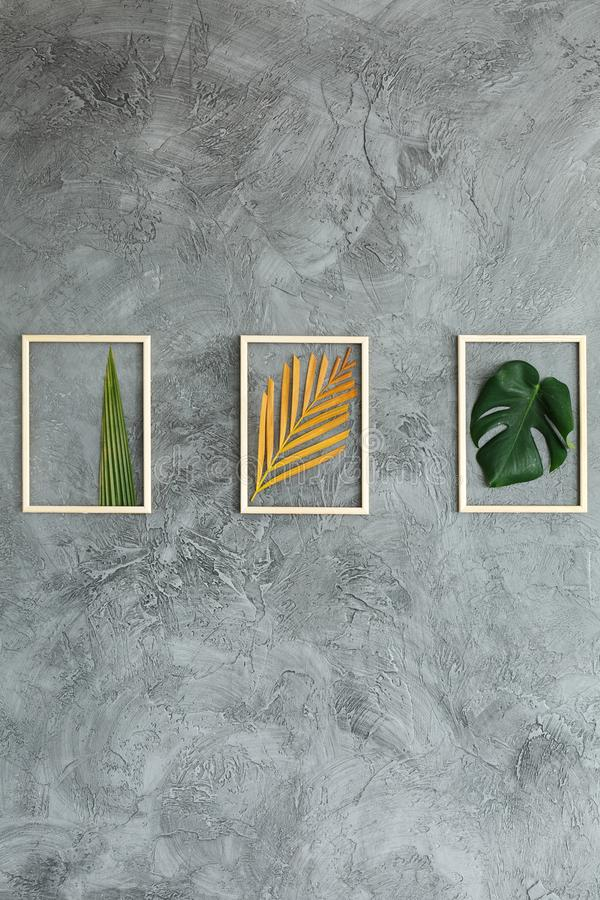 Set of tropical leaves. Handmade minimalist botanical interior decor, set of green and yellow tropical leaves in wooden frames hanging on gray wall royalty free stock photos