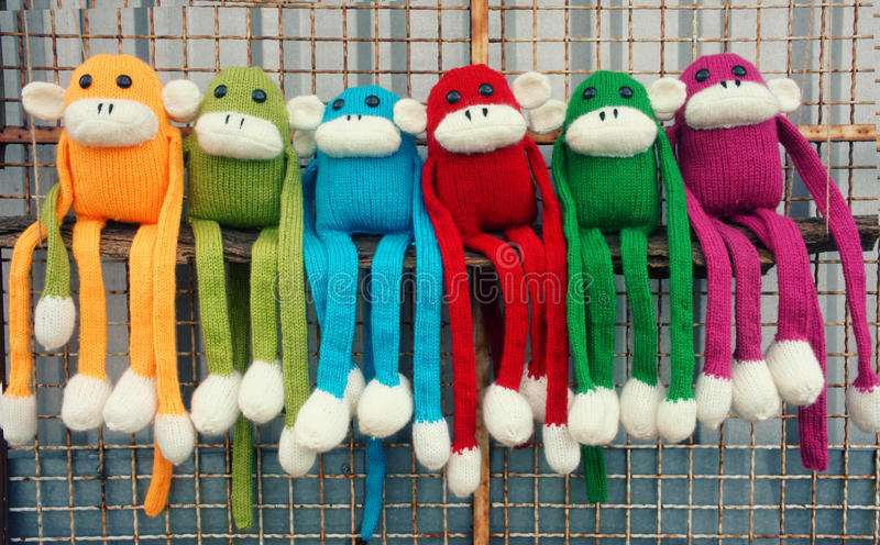 Handmade, monkey, happy new year 2016, funny animal royalty free stock image