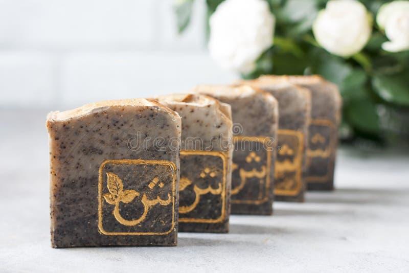 Handmade mydło bary z kawą mydło organicznych zamkniętego ostrości wizerunku selekcyjni zdroju traktowania selekcyjny zdjęcie royalty free