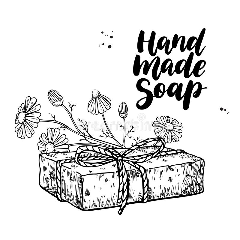Handmade natural soap. Vector hand drawn illustration of organic cosmetic with chamomile medical flowers. Herbal bodycare. Great for label, logo, banner royalty free illustration