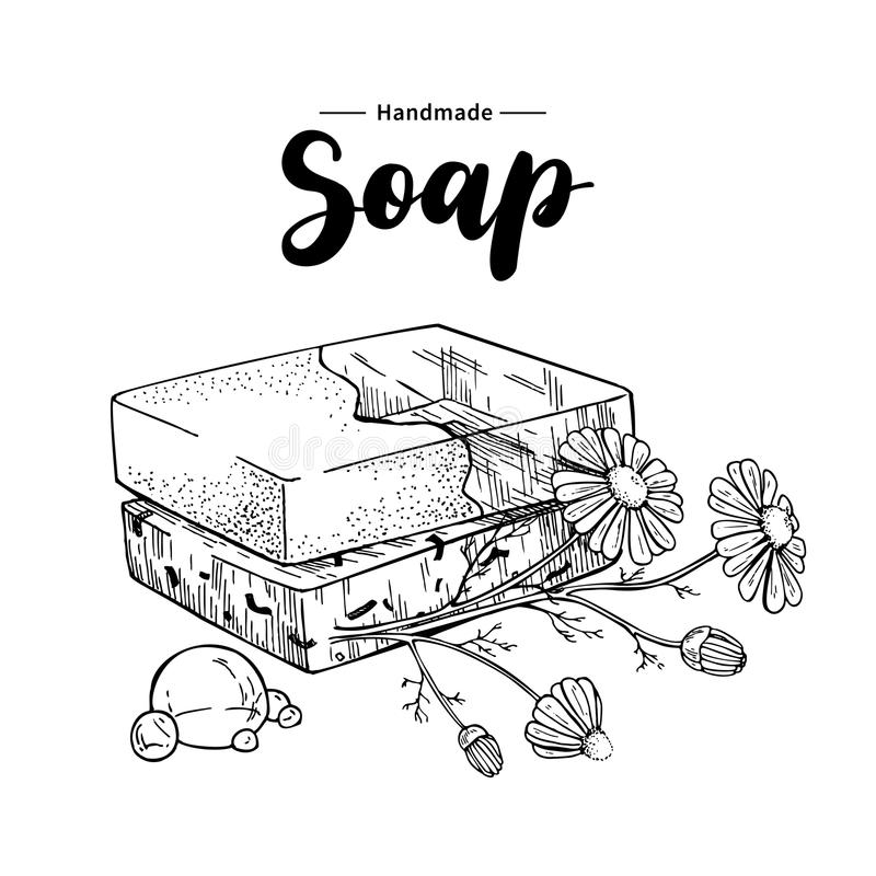 Handmade natural soap. Vector hand drawn illustration of organic cosmetic with chamomile medical flowers. Herbal bodycare. Great for label, logo, banner vector illustration