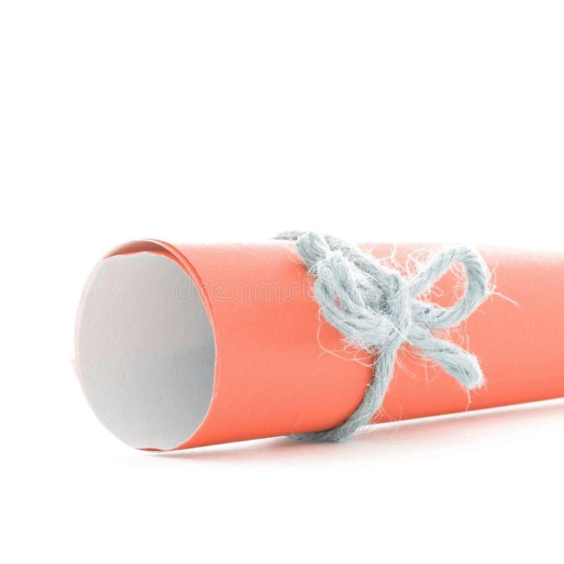 Handmade naturalny linowy łęk wiążący na pomarańcze papieru ślimacznicie obraz royalty free