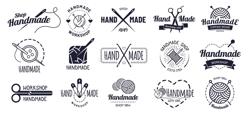 Handmade odznaki Modnisia rzemiosła odznaka, rocznika warsztata etykietki i handcraft logo ilustracji wektorowego set ilustracja wektor