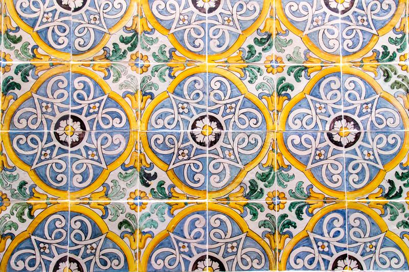 Handmade old Turkish Blue ceramic Tiles on the wall in Istanbul City, Turkey. Close up. Ancient Ottoman patterned Iznik stock images
