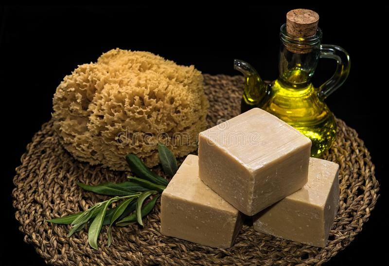 Olive oil soaps stock photography