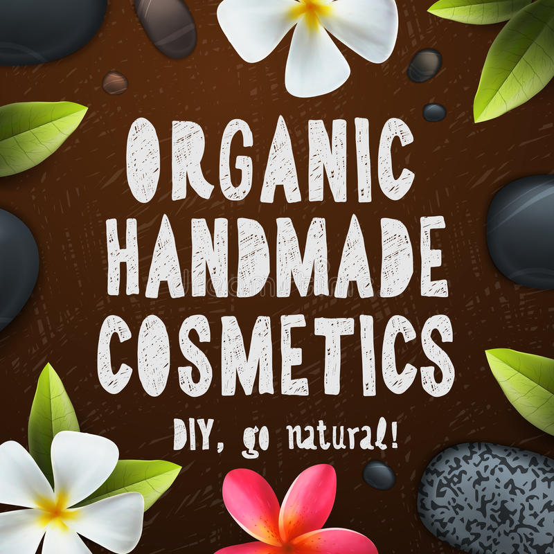 Handmade organic cosmetics. Herbal and natural ingredients, vector illustration royalty free illustration