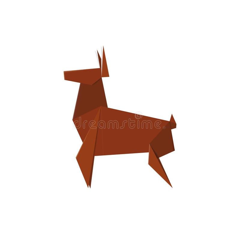Handmade origami deer. Folded from paper stag. Nature animal sign made from carton. Handmade origami deer. Folded from paper stag. Nature animal sign made from royalty free illustration