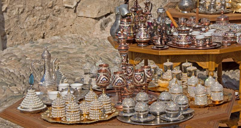 Copperware souvenirs from Mostar in Bosnia and Herzegovina royalty free stock photos