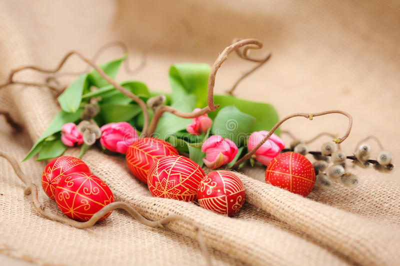Handmade painted Easter eggs. From Transylvania stock images