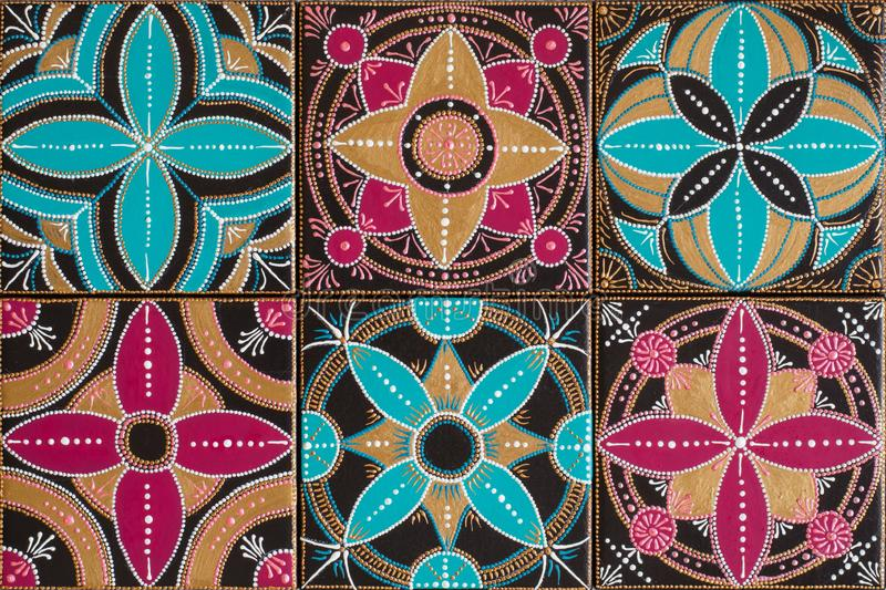 Handmade painting tile. Geometrical ornament, bright colors. Handmade painting tile. Geometrical ornament and bright colors stock photography