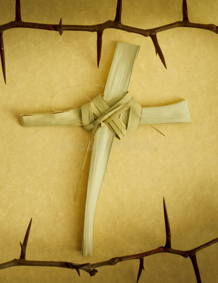 Handmade Palm Branch Cross surrounded by Crown of Thorns stock images