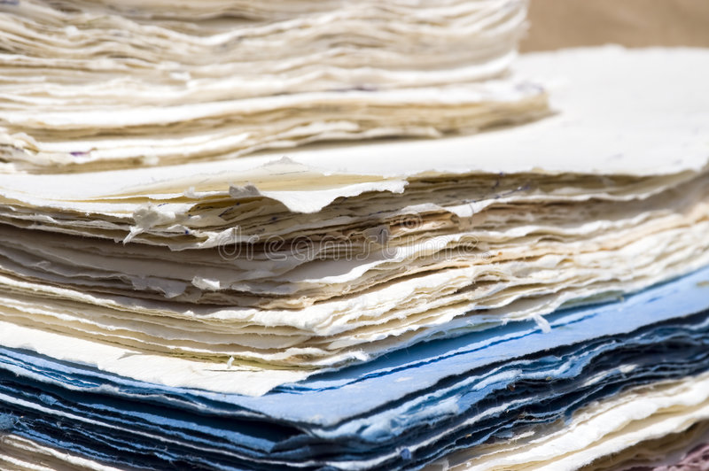 Handmade paper. A pile of handmade paper royalty free stock image