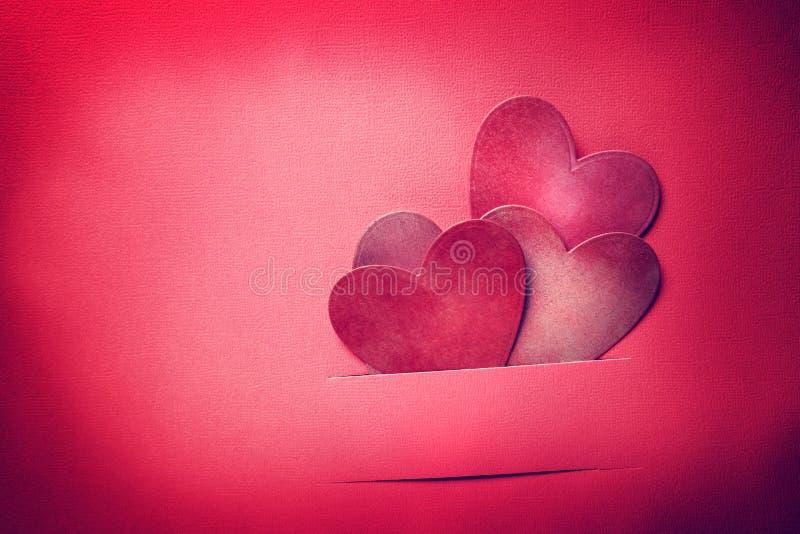 Handmade paper craft Valentine hearts stock photos