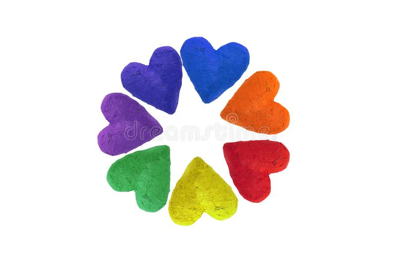 Handmade paper hearts. In rainbow colors, isolated on white background stock illustration