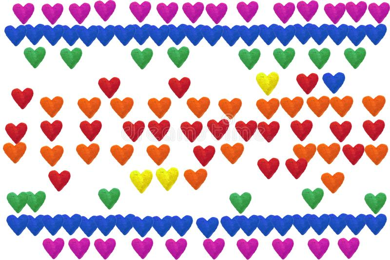 Handmade paper hearts in rainbow colors. Isolated on white background royalty free illustration