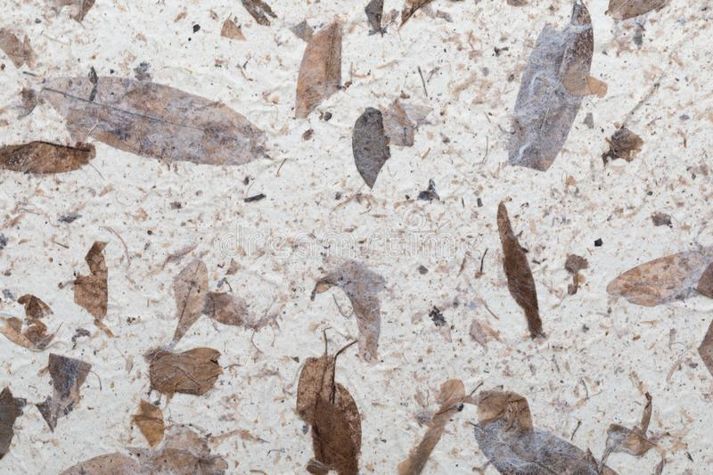 Handmade paper texture with recycled materials stock photography