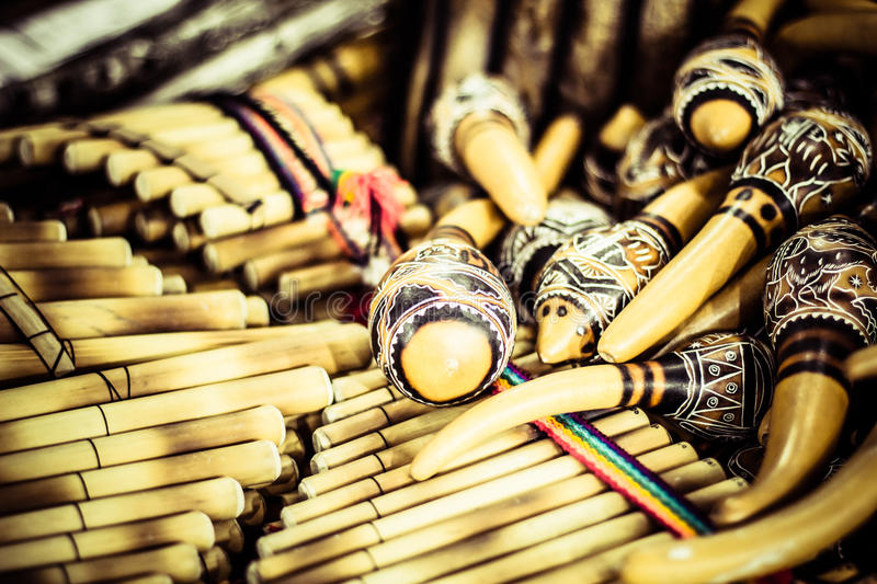 Handmade peruvian maracas in local market.  royalty free stock photo