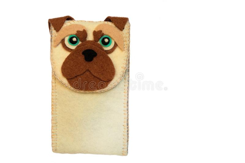 Handmade phone case made of felt with dog face. Fictional character stock images