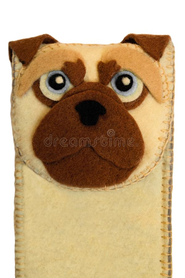 Handmade phone case made of felt with dog face. Fictional character royalty free stock images