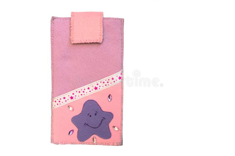 Handmade phone case made of felt with starry ribbon. Fictional character - starfish stock images