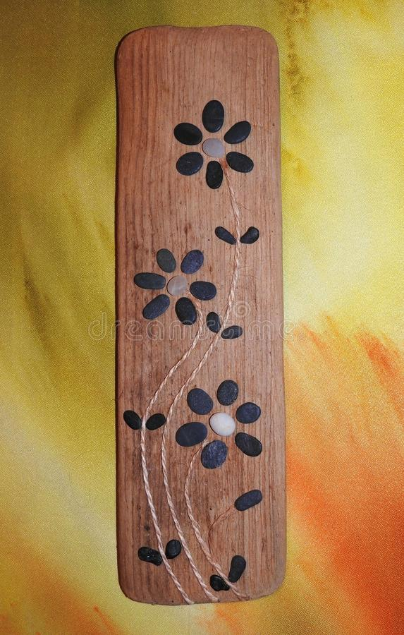 Handmade picture using se stones and sea wood, Lithuania royalty free stock photo