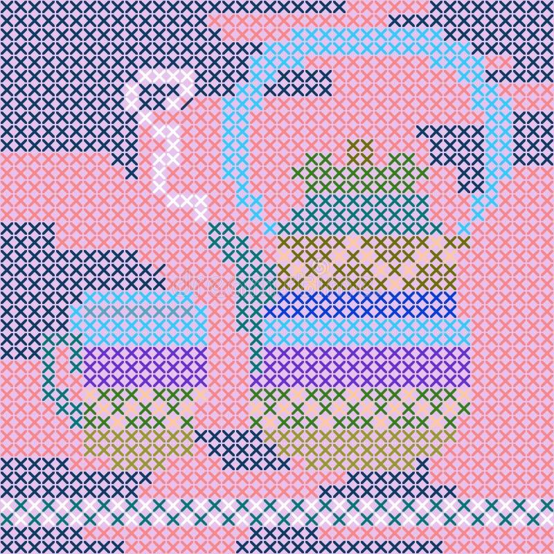 Handmade pielucha z czajnikiem i teacup Ściegu wzór Pillowcase, kartka z pozdrowieniami ilustracji