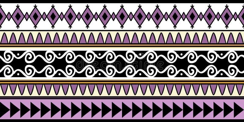 handmade plemiennej tekstury bezszwowy deseniowy wektor z praformą paskuje chłodno projekta tło, Pasiasta abstrakcjonistyczna ilu royalty ilustracja
