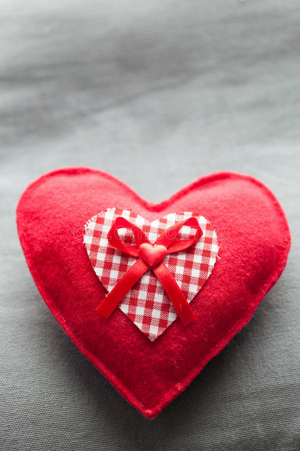 Download Handmade Plush Red Heart On The Soft Pillow Stock Photo - Image: 37735574