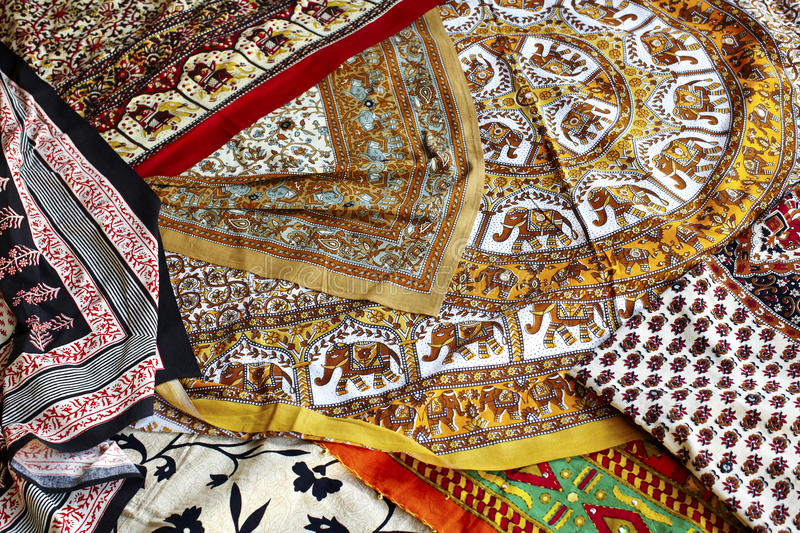 Handmade printed fabric on the market in India royalty free stock photos