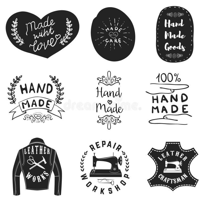 Handmade produkt etykietki Rzemienni warsztatowi emblematy Projekt Eleme royalty ilustracja