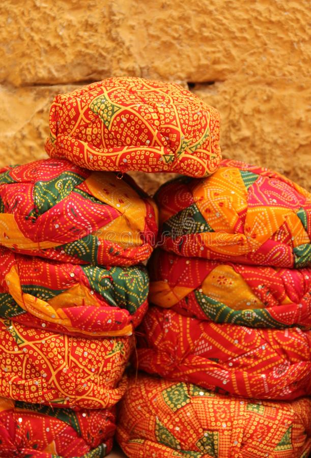 Handmade Rajasthani hats for sale royalty free stock photo