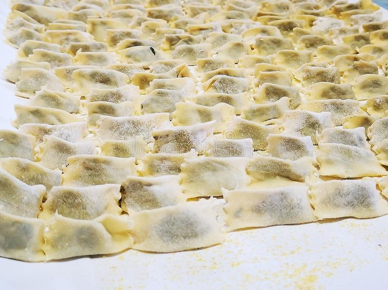 Handmade ravioli in the home and placed in trays ready to be consumed. Handmade ravioliand placed in trays ready to be consumed stock photos