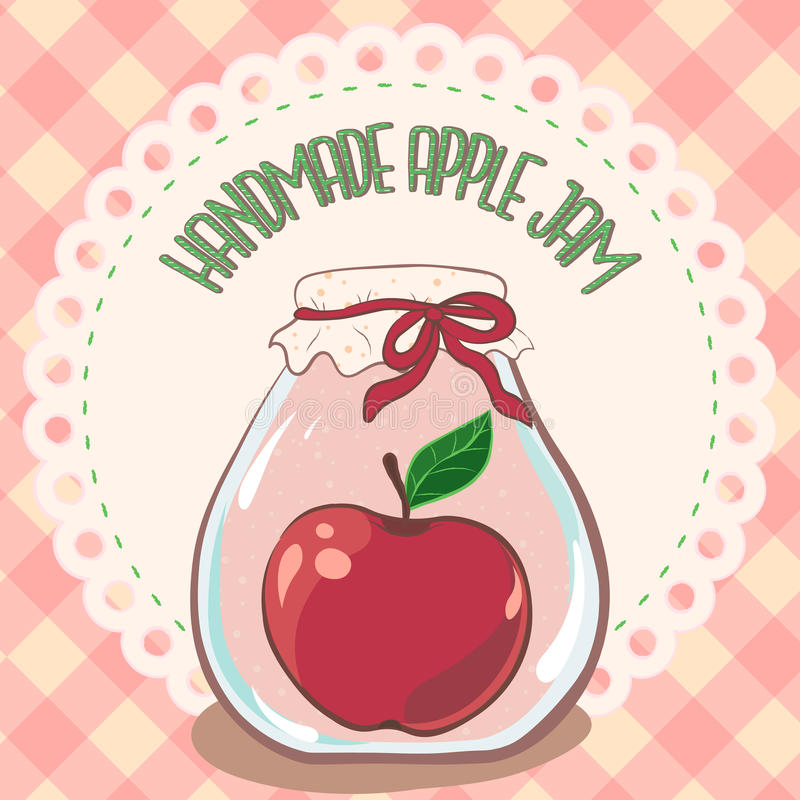 Handmade red apple jam jar on lace doily label and gingham tablecloth. Vector illustration, eps 10. Jam label template for package royalty free stock photography