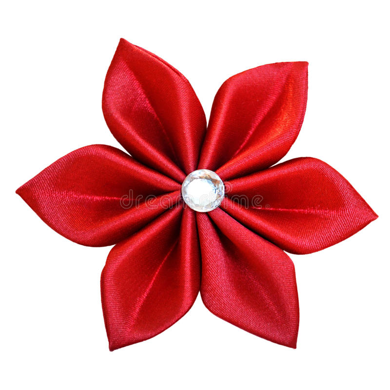 Handmade red fabric flower. Isolated on white background royalty free stock photography