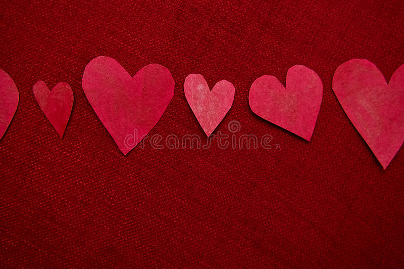 Download Handmade Red Hearts On Red Background Stock Image - Image: 29369759
