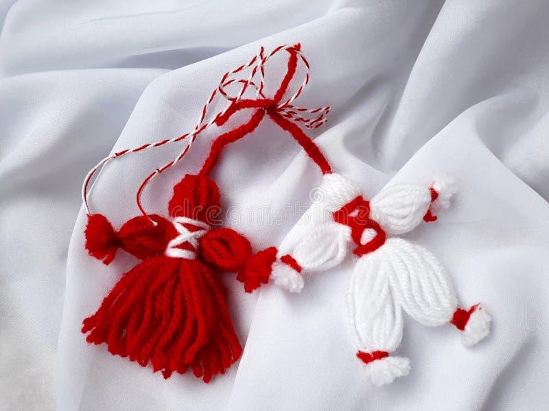 Handmade red and white Martisor stock images