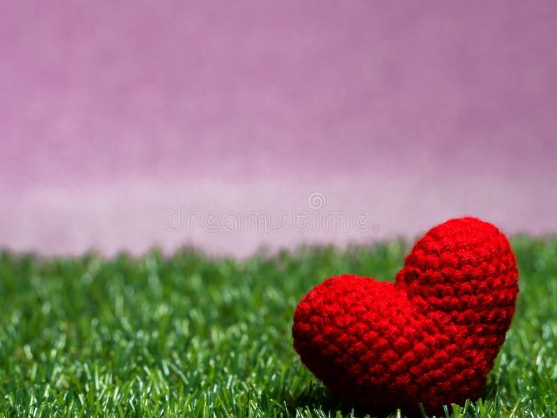 Handmade red yarn heart on Green grass background is royal pink. Copy space for text, Valentines day, love concept and love background stock photo