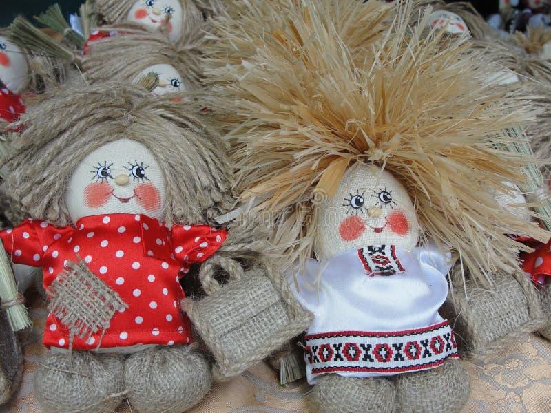 Handmade rope doll hobgoblin with a magic chest. stock photography